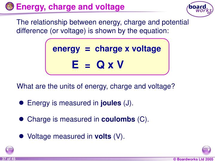 Energy Charge And Voltage