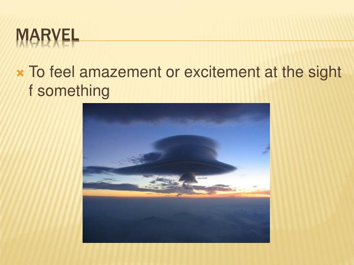 To feel amazement or excitement at the sight f something