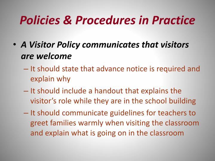 Policies & Procedures in Practice