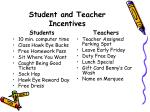 student and teacher incentives