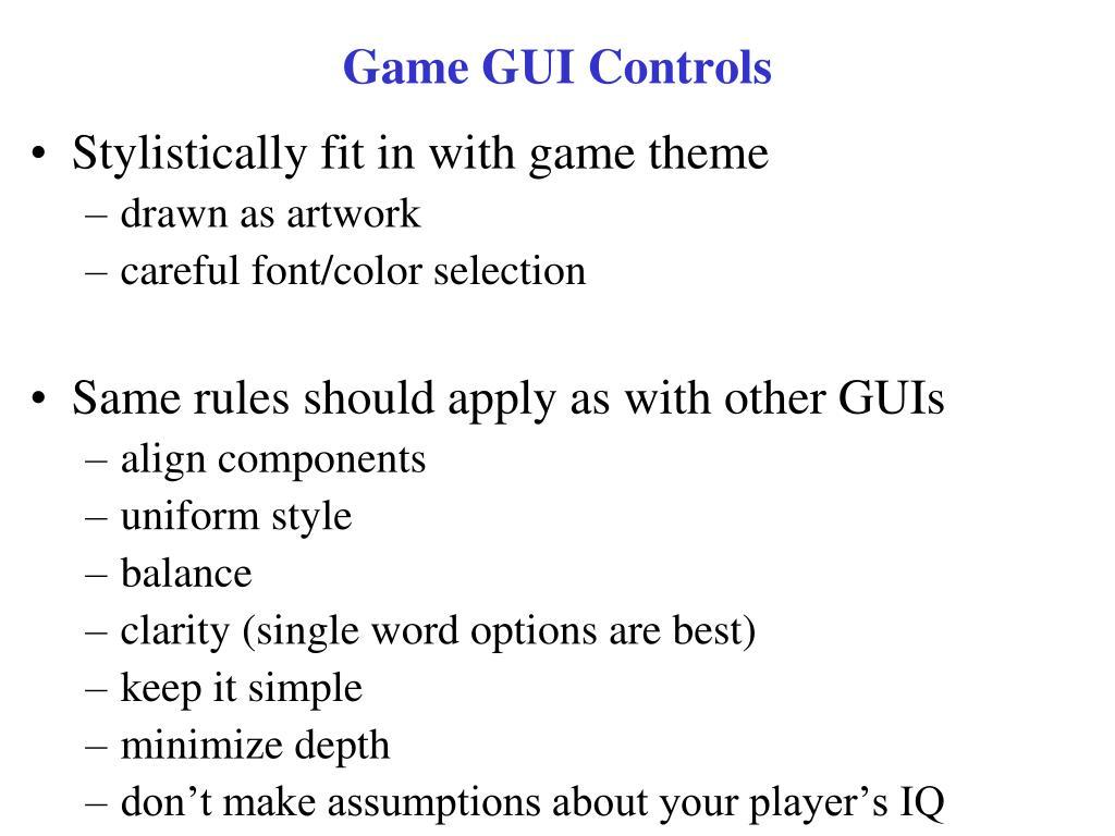 Game GUI Controls