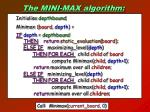 the mini max algorithm
