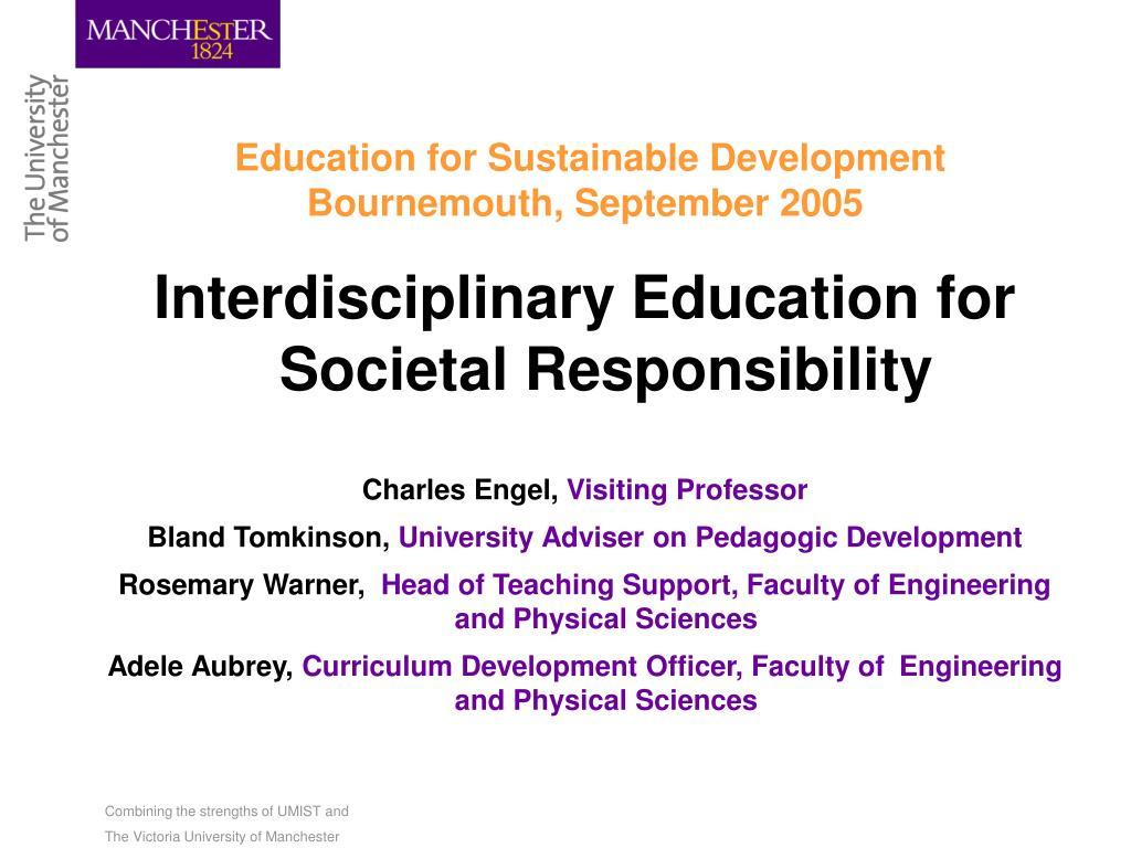 education for sustainable development bournemouth september 2005