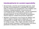 interdisciplinarity for societal responsibility