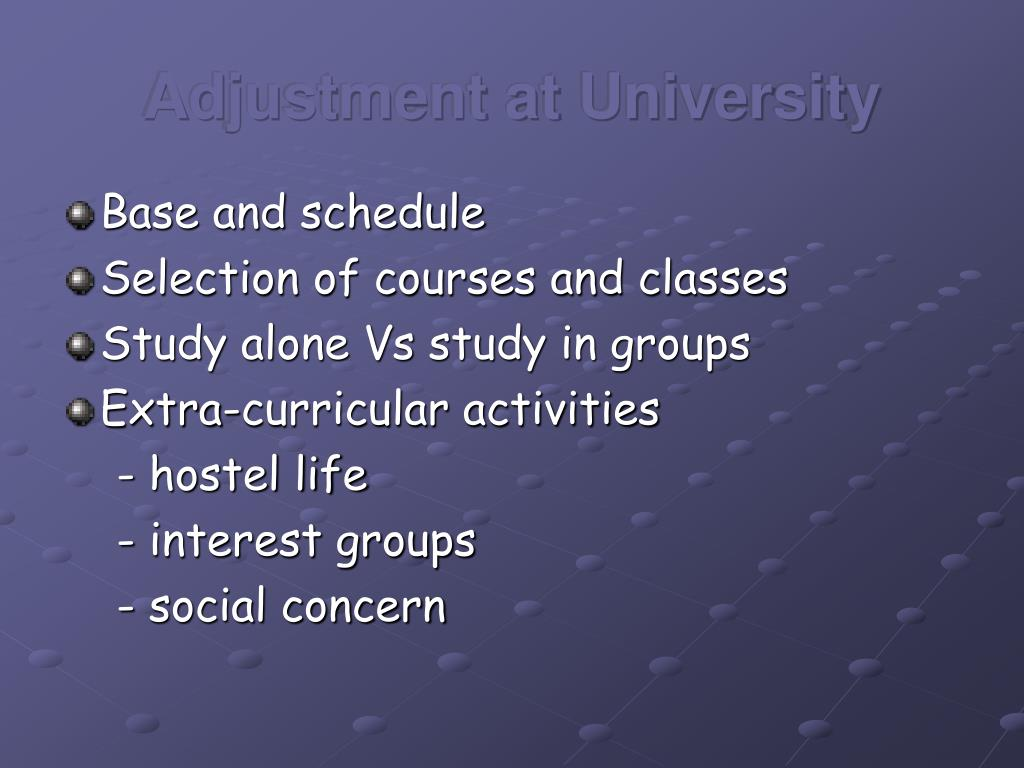 Adjustment at University