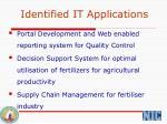 identified it applications