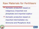 raw materials for fertilisers