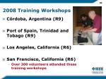 2008 training workshops