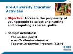 pre university education activities