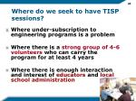 where do we seek to have tisp sessions