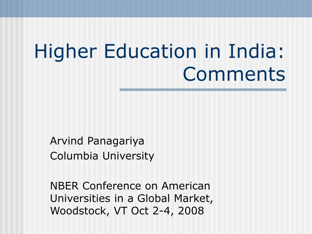 higher education in india comments l.