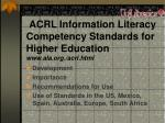 acrl information literacy competency standards for higher education www ala org acrl html