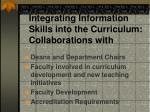 integrating information skills into the curriculum collaborations with