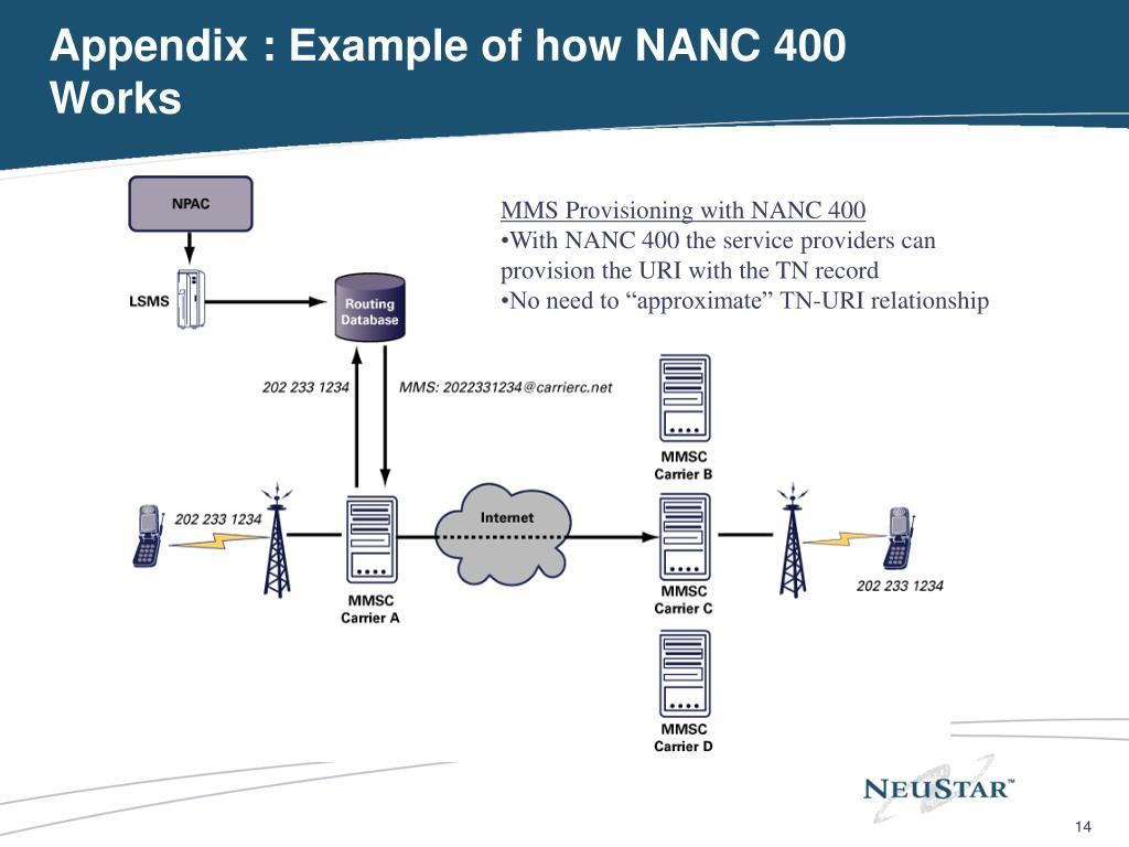 Appendix : Example of how NANC 400 Works