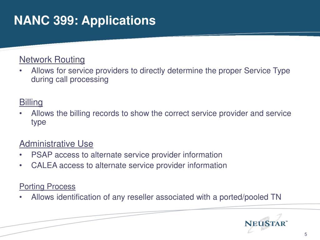NANC 399: Applications