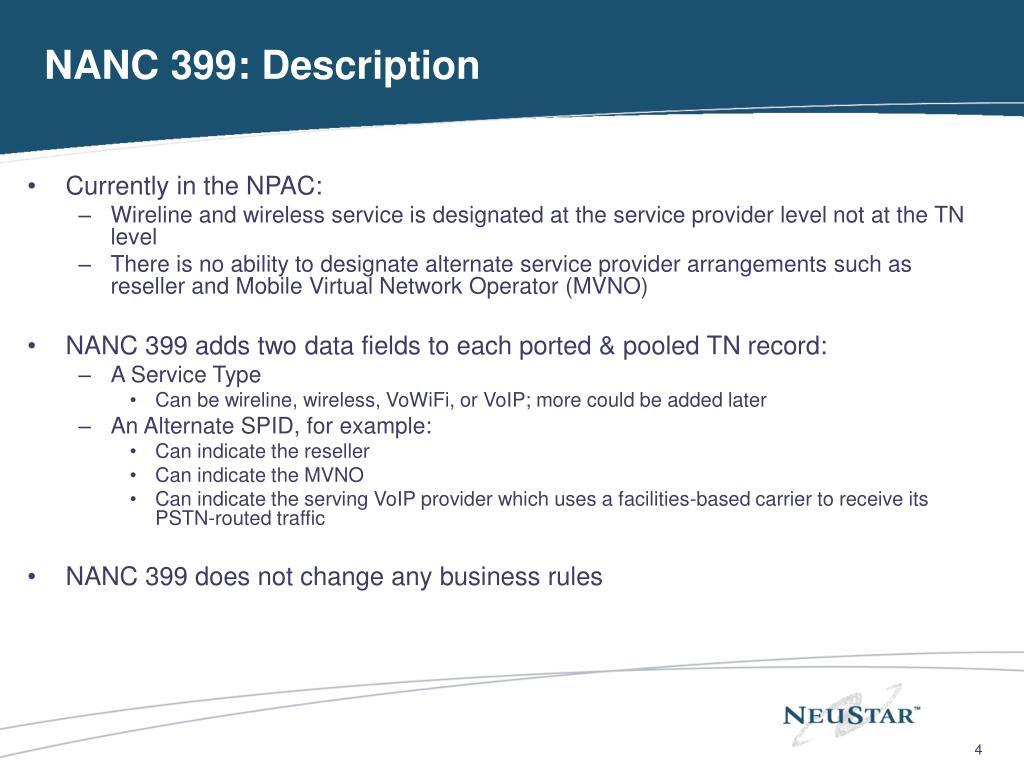 NANC 399: Description