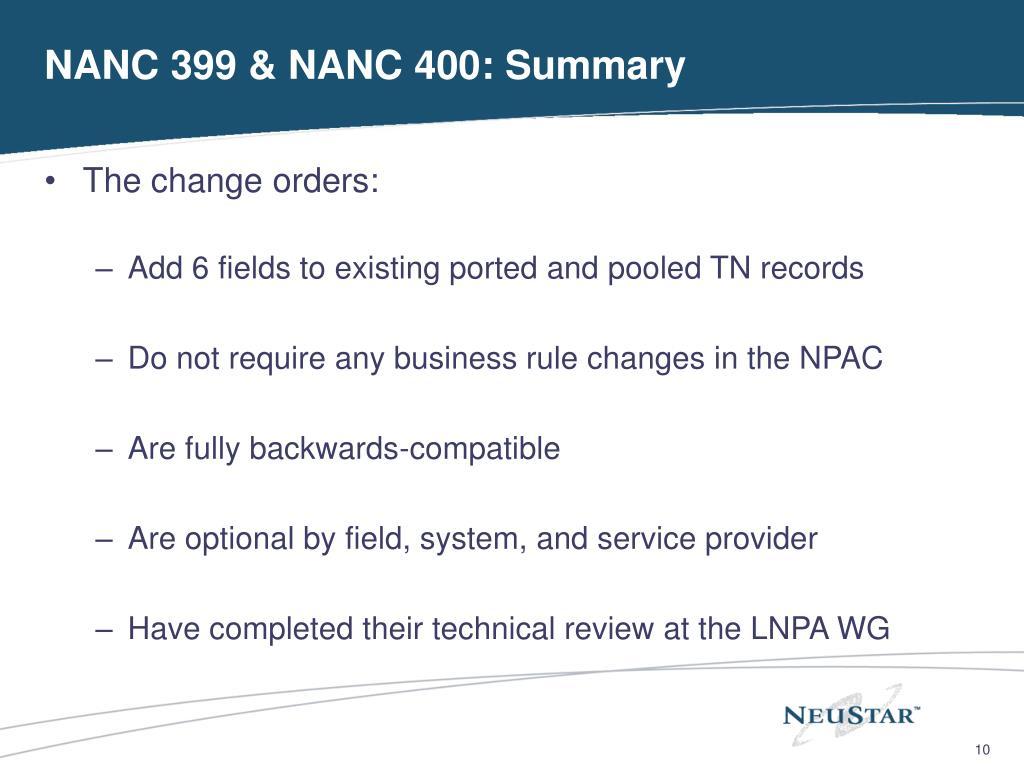 NANC 399 & NANC 400: Summary