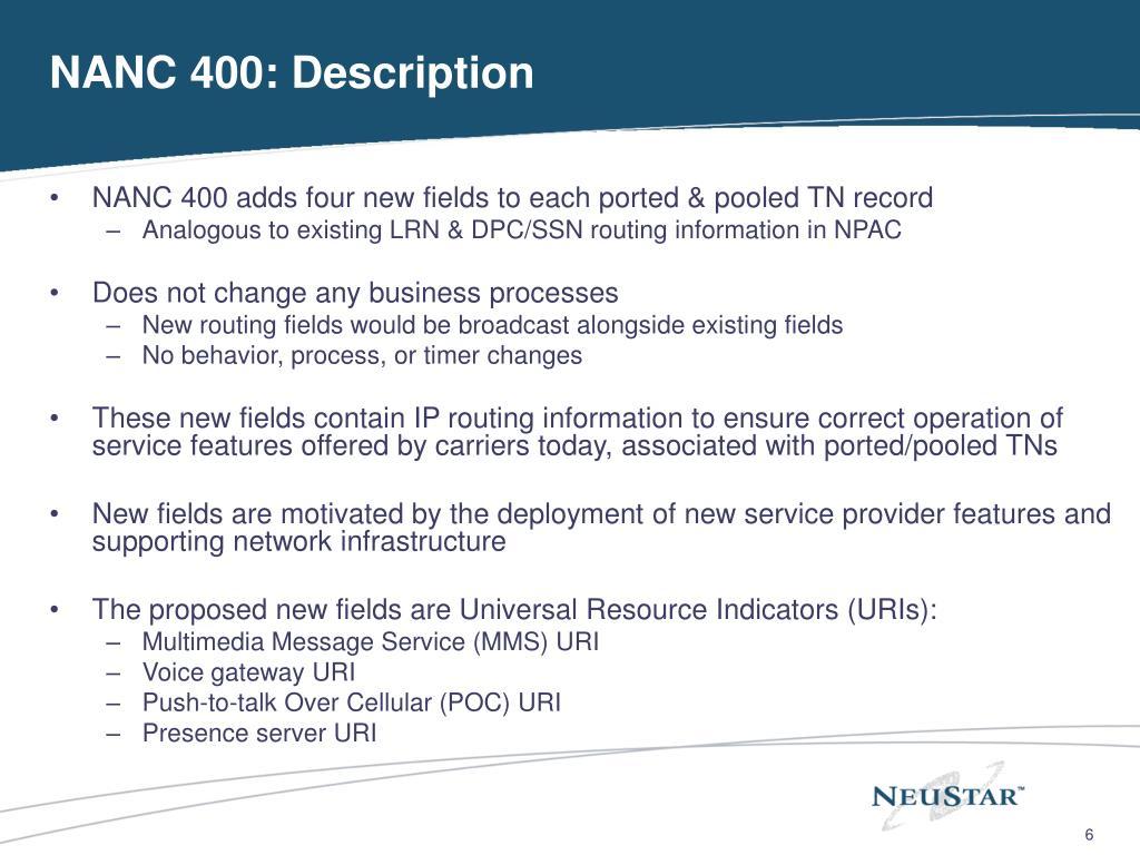 NANC 400: Description