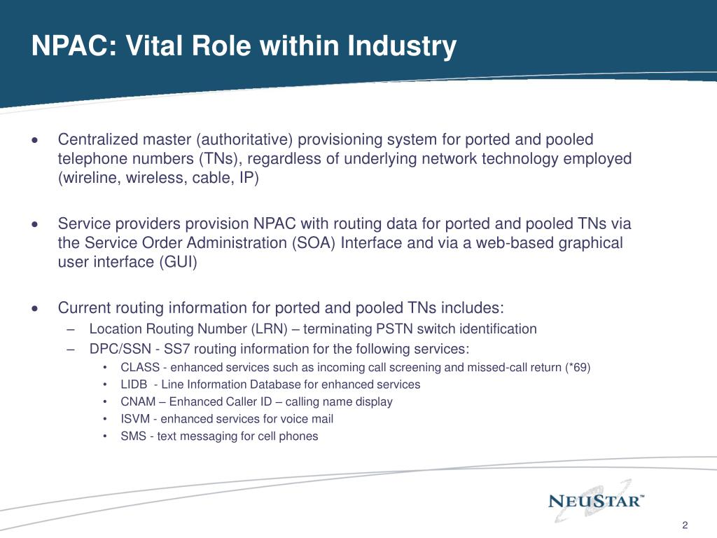 NPAC: Vital Role within Industry