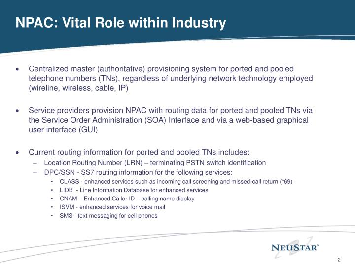 Npac vital role within industry