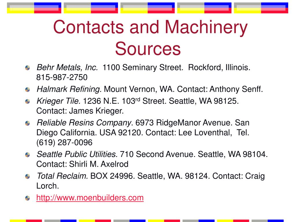 Contacts and Machinery Sources