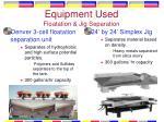 equipment used floatation jig separation