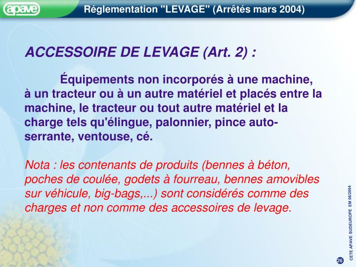 ACCESSOIRE DE LEVAGE (Art. 2) :