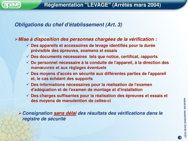 Obligations du chef d'établissement (Art. 3)
