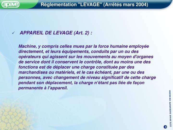 APPAREIL DE LEVAGE (Art. 2) :