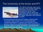 the university of the arctic and ipy
