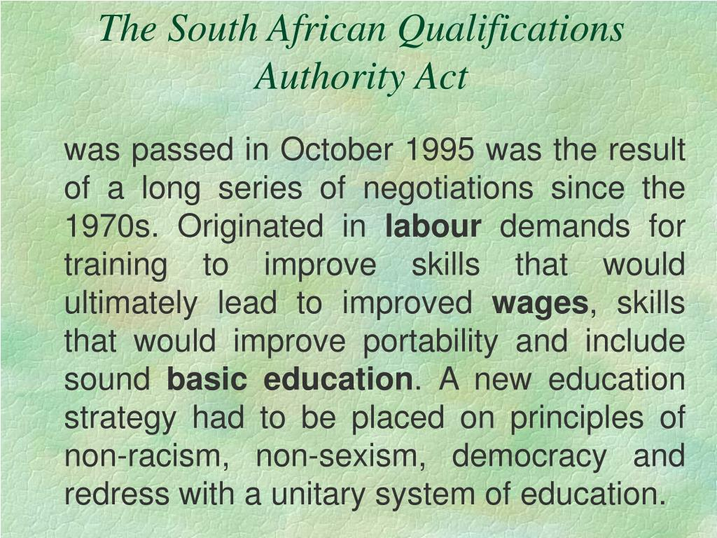 The South African Qualifications Authority Act
