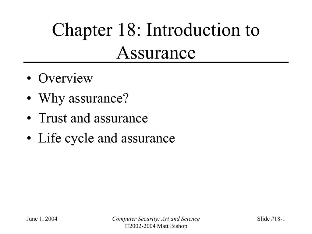 chapter 18 introduction to assurance l.