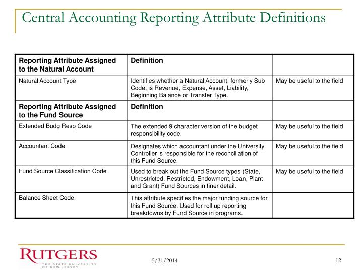 Central Accounting Reporting Attribute Definitions