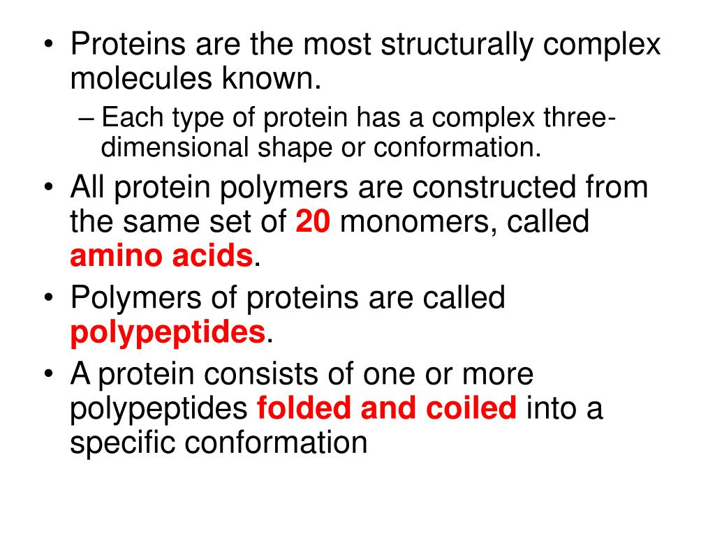 Proteins are the most structurally complex molecules known.
