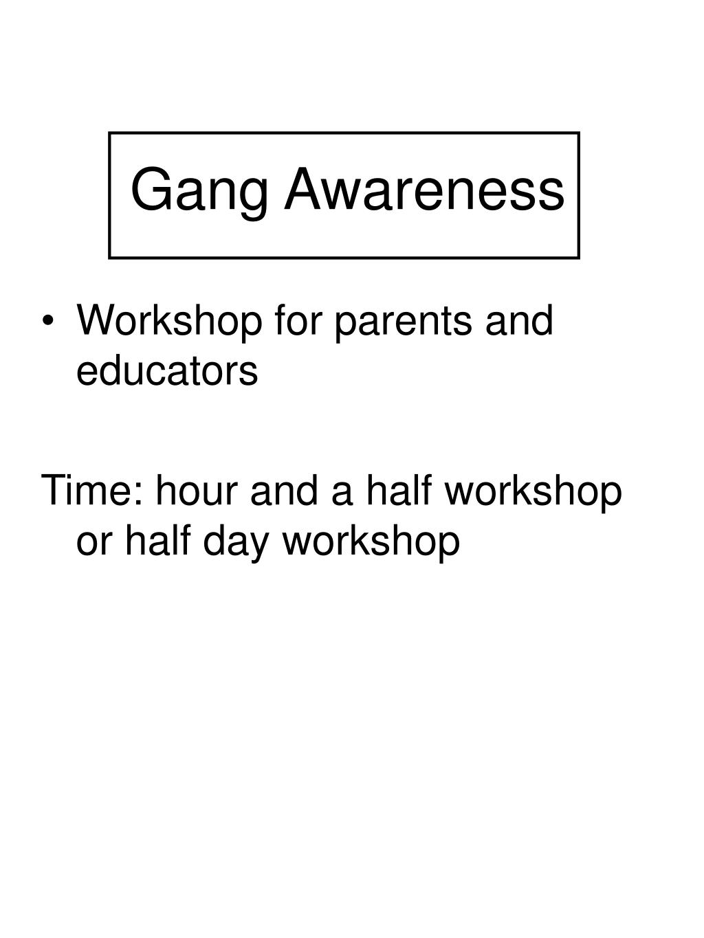 gang awareness l.