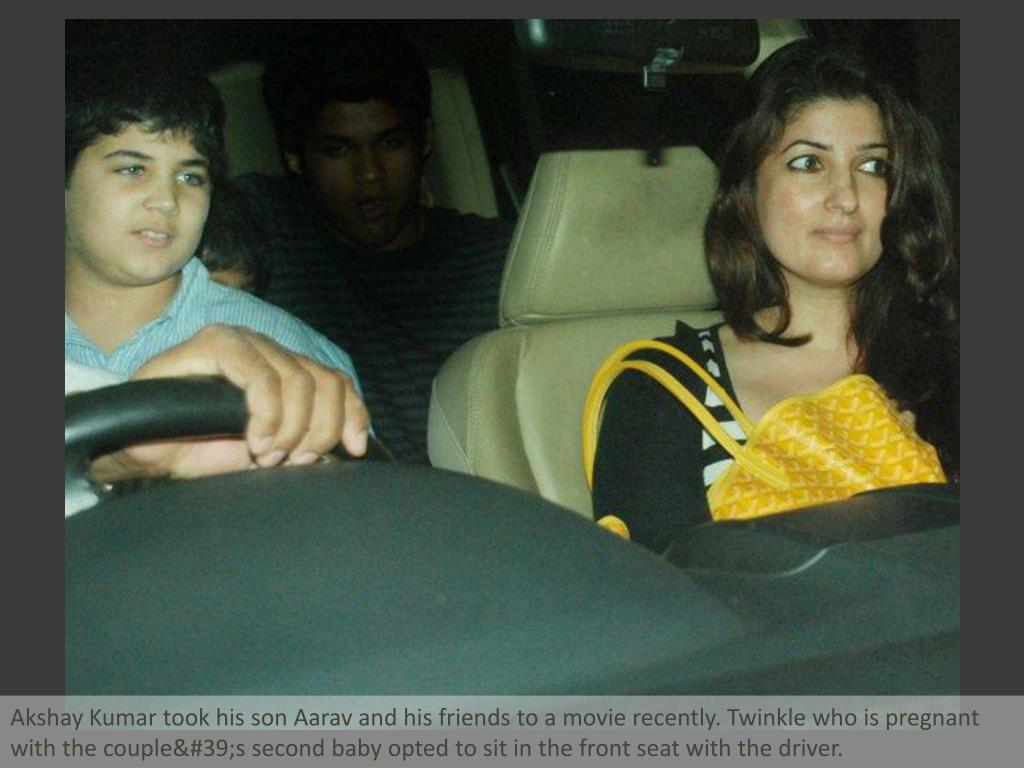 Akshay Kumar took his son Aarav and his friends to a movie recently. Twinkle who is pregnant with the couple's second baby opted to sit in the front seat with the driver.