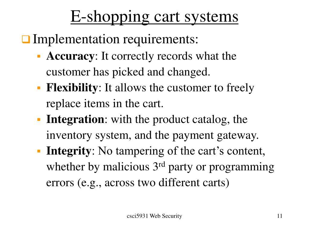 E-shopping cart systems