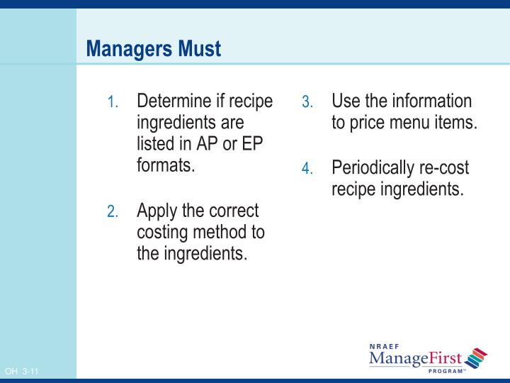 Determine if recipe  ingredients are listed in AP or EP formats.