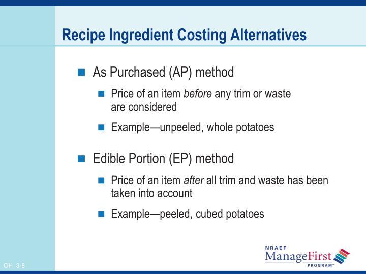 Recipe Ingredient Costing Alternatives
