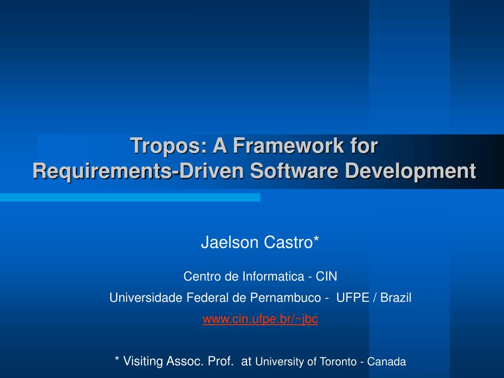 tropos a framework for requirements driven software development l.