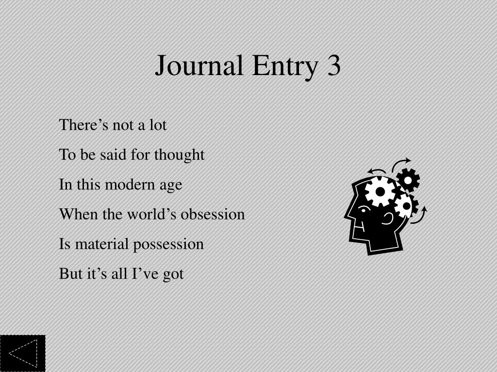 Journal Entry 3