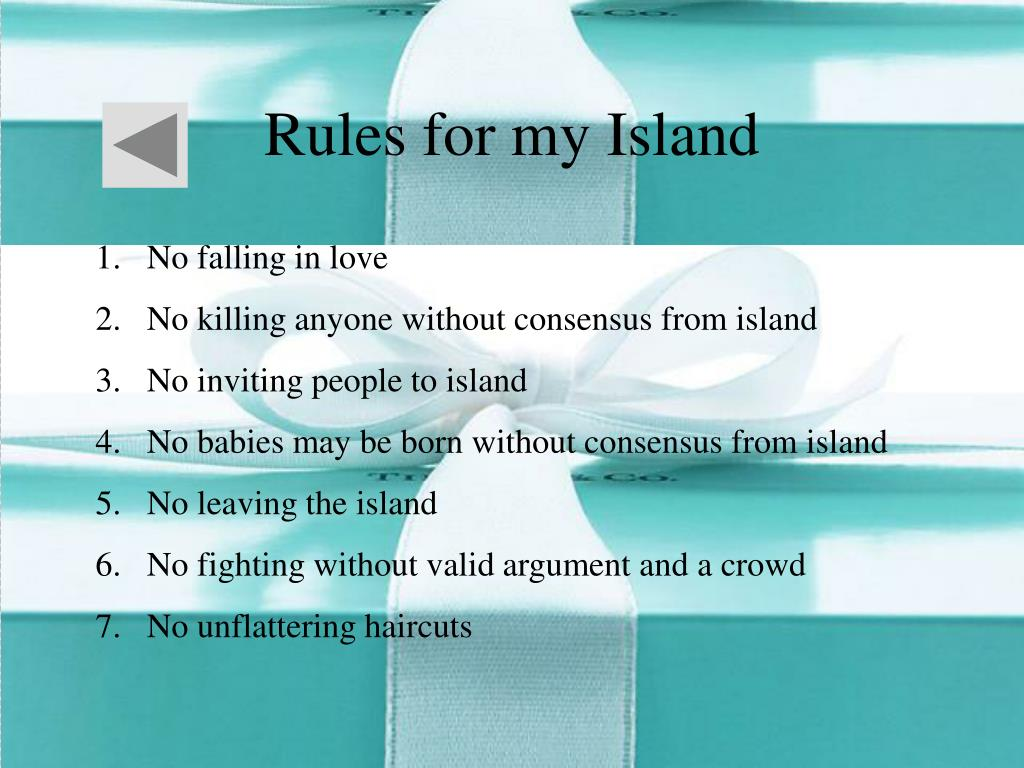 Rules for my Island