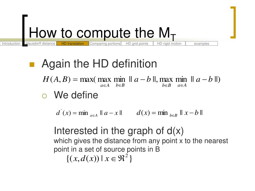 PPT - Comparing Images Using the Hausdorff Distance PowerPoint