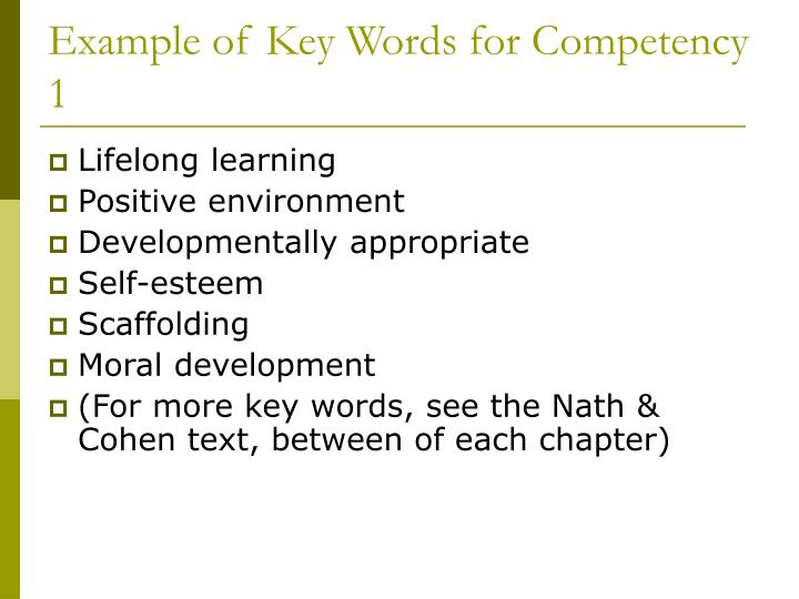 Example of Key Words for Competency 1