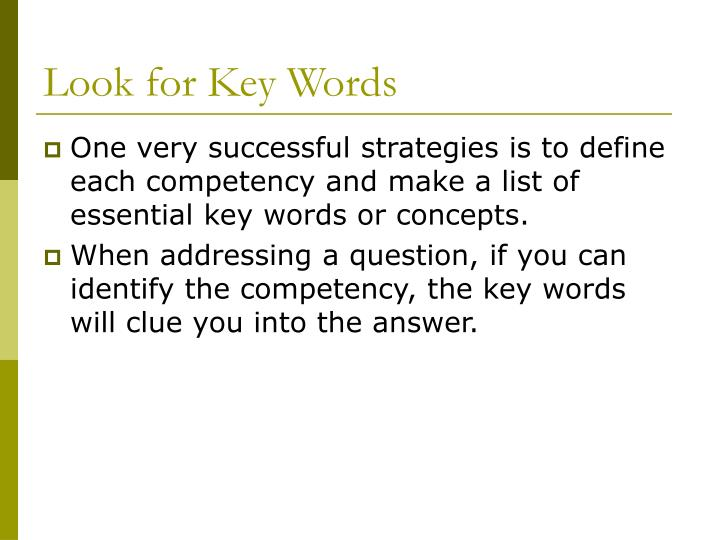 Look for Key Words