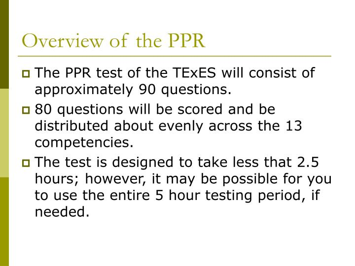 Overview of the ppr