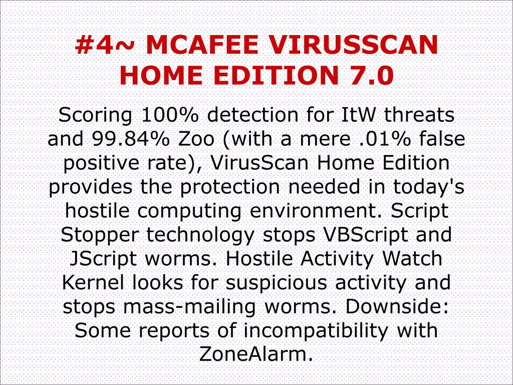 #4~ MCAFEE VIRUSSCAN HOME EDITION 7.0