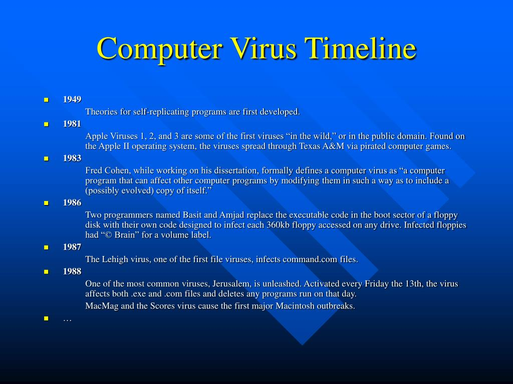Computer Virus Timeline