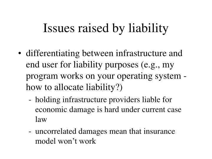 Issues raised by liability