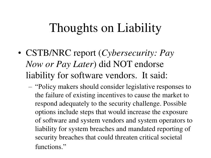 Thoughts on liability